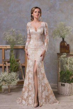 Elegante Brautkleid Meerjungfrau | Spitze Hochzeitskleider Lange armel