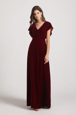 Flutter Sleeve V Neck Floor Length Bridesmaid Dresses