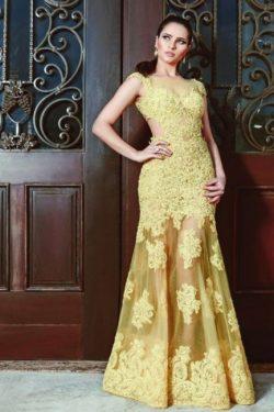 Abendkleider Lang Gelb | Abiballkleider mit Spitze