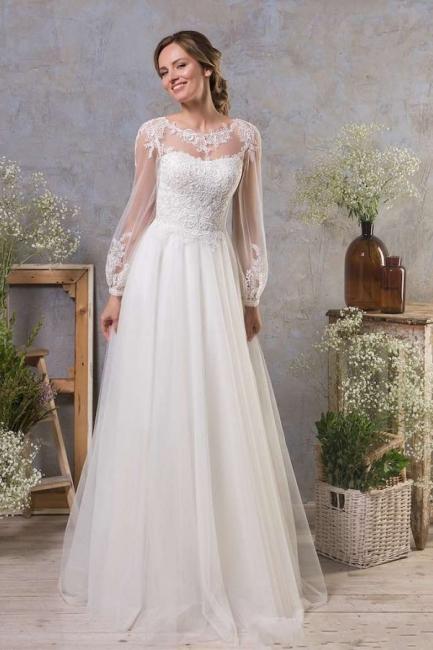 Boho Hochzeitskleider Mit armel | A Linie Brautkleid Tull
