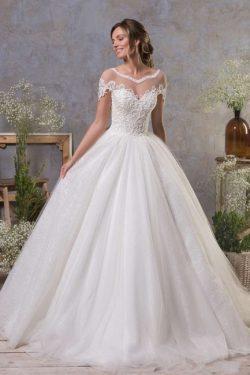 Schlichte Hochzeitskleider A Linie | Brautkleid Tull
