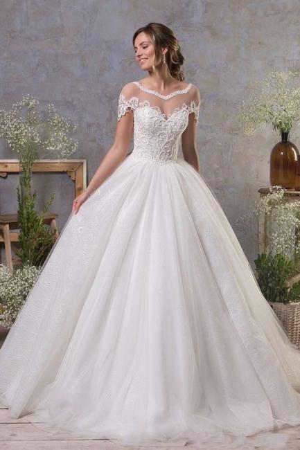 Schlichte Hochzeitskleider A Linie   Brautkleid Tull