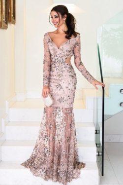 Elegante Abendkleider Lang Rosa | Abiallkleider mit Spitze