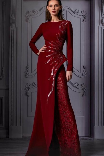 Abendkleider Lang Glitzer Weinrot   Abiballkleid mit armel