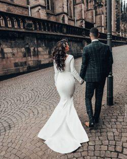 Designer Hochzeitskleider Meerjungfrau | Brautkleid mit armel