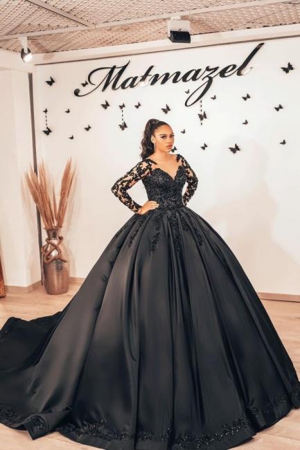 Schwarze Brautkleider mit armel | Prinzessin Hochzeitskleider Spitze