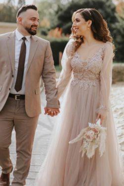 Modern Hochzeitskleider mit armel | Brautkleid Tull