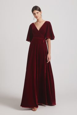 Velvet Maxi Bridesmaid Dresses With Elbow Length Flutter Sleeves