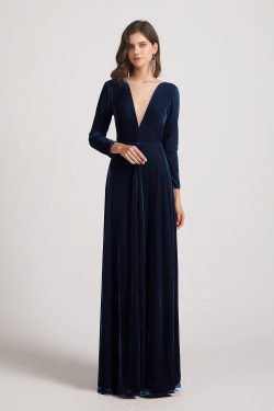 Illusion V Neck Long Sleeve Velvet Bridesmaid Dresses
