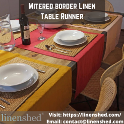 Mitered border Linen Table Runner | Linenshed