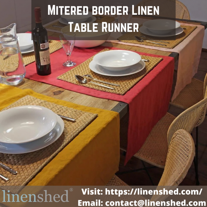 Mitered border Linen Table Runner   Linenshed