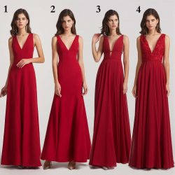 Straps V Neck Column Bridesmaid Dresses