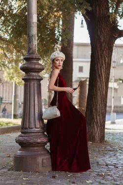 Velvet Bridesmaid Dress With Daring Deep V Neck