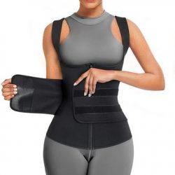 Junlan Women Zipper Sauna Vest with Adjustable Velcro Belts