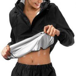Women Waterproof Hot Sauna Hoodies Black Sweating Jacket – Nebility