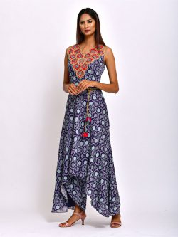 KAMAL NAVY BLUE EMBROIDERED AND PRINTED JUMPSUIT