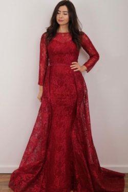 Rote Abendkleider Lang Spitze | Abiballkleider mit Ärmel