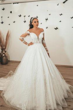 Moderne Brautkleider mit Ärmel | Hochzeitskleider A Linie Spitze