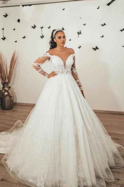Moderne Brautkleider mit Ärmel   Hochzeitskleider A Linie Spitze
