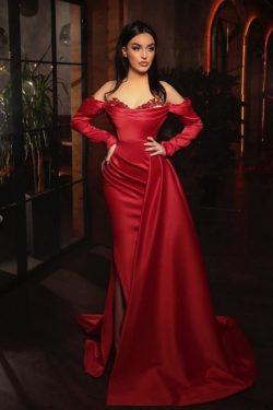 Abiballkleider mit Ärmel | Rotes Abendkleid Lang