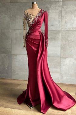 Rotes Abendkleid Lang | Abiballkleider mit Ärmel