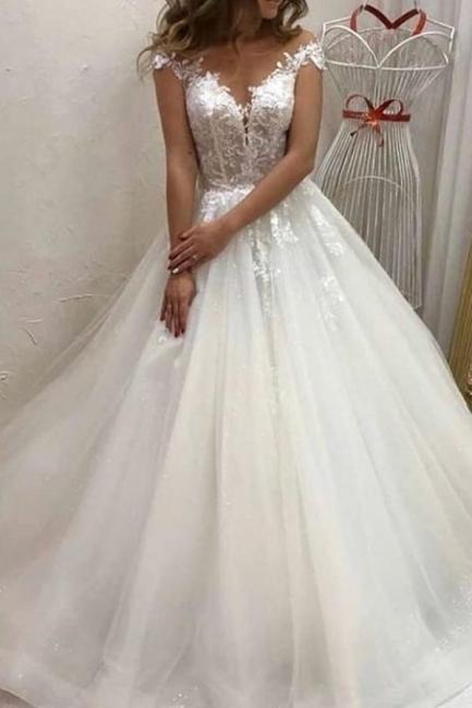 Designer Hochzeitskleider A Linie | Brautkleid Tüll