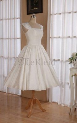 A-Line Quadrat Ausschnitt Wadenlanges Brautkleid mit Rücken Schnürung ohne Ärmeln – MeKleid.de