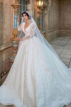 Extravagante Hochzeitskleider Glitzer | Prinzessin Brautkleider Spitzenärmel