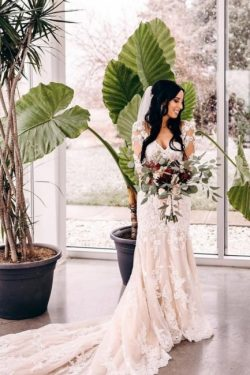 Brautkleid Meerjungfrau Spitze | Hochzeitskleider Lange armel