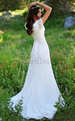Beach Stil Plissiertes Perlenbesetztes Juwel Ausschnitt Prächtiges Brautkleid – MeKleid.de