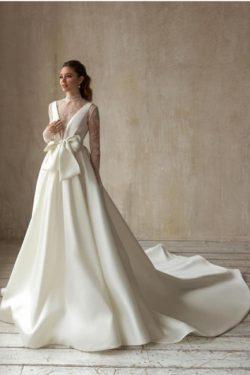 Schlichte Hochzeitskleid A Linie | Brautkleider mit Ärmel