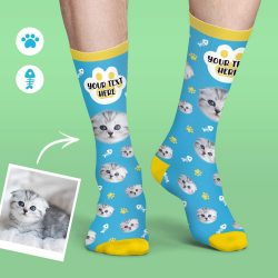 Custom Face Socks Colorful Candy Series Soft And Comfortable Cat Socks