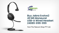 Buy Jabra Evolve2 40 MS Monaural USB-A Wired Headset 24089-899-999 from The Telecom Shop PTY Ltd