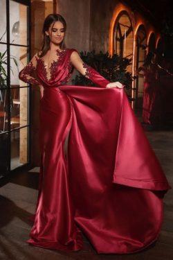Elegante Abiballkleider Rot | Günstige Abendkleider Mit Ärmel