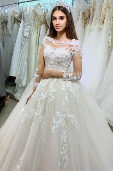 Prinzessin Hochzeitskleider Spitze   Brautkleider mit Ärmel