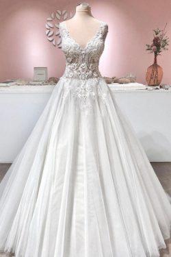 Vintage Hochzeitskleid A Linie Spitze | Brautkleider Tüll Online