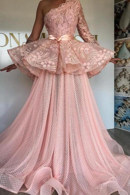 Elegante Abendkleider Lang Rosa   Abiballkleider mit Spitze