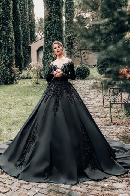 Prinzessin Hochzeitskleider Schwarz | Brautkleider mit Ärmel