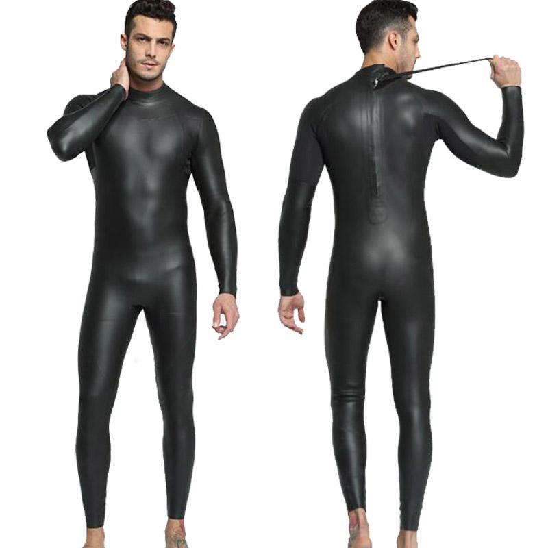 MYLEDI Mens 3mm Smoothskin Full Black Rubber Wetsuit