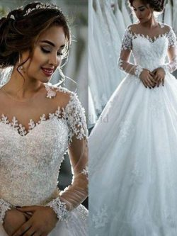 Duchesse-Linie Tüll Normale Taille Fantastisch Bodenlanges Brautkleid mit Perlen – MeKleid.de