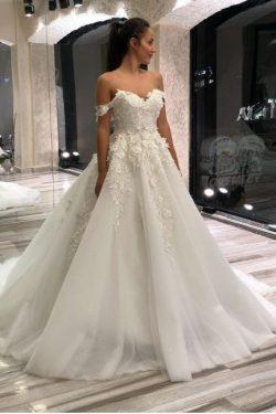 Schöne Brautkleider A Linie | Tülle Hochzeitskleider mit Spitze