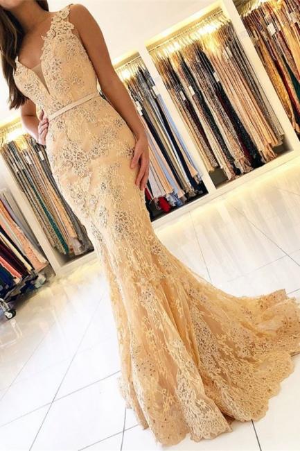 Elegante Abendkleider mit Spitze   Abiballkleider Lang Günstig