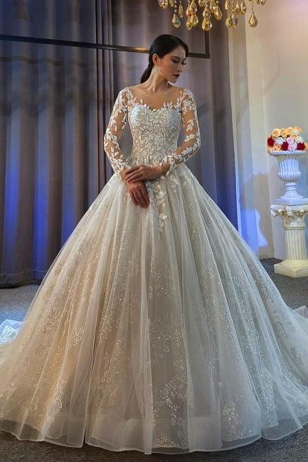 Extravagante Hochzeitskleider A Linie   Spitze Brautkleider Mit Ärmel