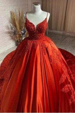 Rote Hochzeitskleider Günstig | Prinzessin Brautkleider mit Spitze