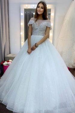 Neu Luxus Brautkleid A Linie | Hochzeitskleider Tüll Günstig