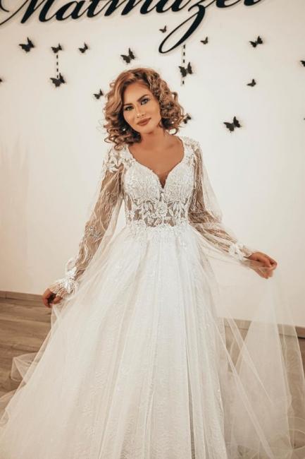 Designer Hochzeitskleider Spitze | Boho Brautkleider mit Ärme