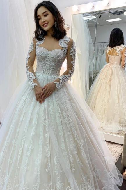 Prinzessin Hochzeitskleider Spitze | Brautkleider mit Ärmel
