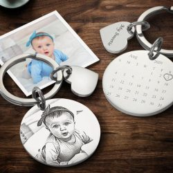 Personalized Photo Engraving Calendar Keychain-Anniversary Gift