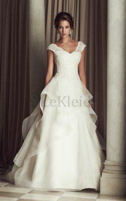 Organza V-Ausschnitt Schick Brautkleid mit Mehrschichtigen Rüsche aus Spitze – MeKleid.de