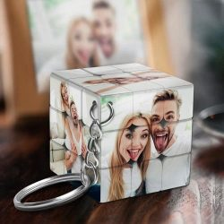 Custom Multiphoto Rubik's Cube Keychain Couples